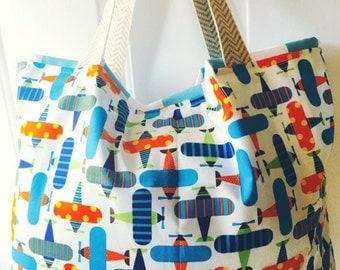 Tote bag, beach bag, summer tote, diaper bag, tote, bag, beach tote, reversible tote, large tote, bridesmaids totes, airplanes, diaper bag,