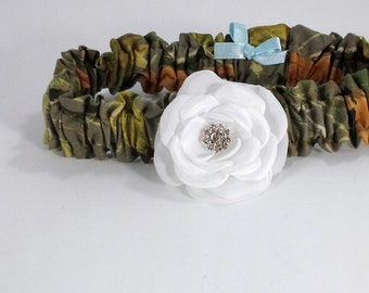 Bridal Garter, Hunter Camo and White Rose Single Garter G051, wedding garter accessory