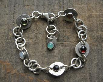 Double-sided gemstone bracelet, handmade chain bracelet by teresamatheson