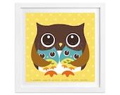 28 Twin Boys Print - Owl with Boy Twins Wall Art - Twin Boys Woodland Owl Nursery Art - Art for Twin Boys - Twin Boys Nursery Print
