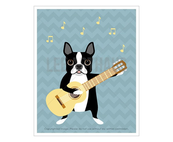 46F Dog Print - Boston Terrier Dog Playing Guitar Wall Art - Guitar Print - Blue Chevron Decor - Guitar Drawing - Music Theme Nursery Print