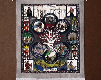 Game of Thrones, Medieval tapestry, wall display. The North - illuminated painting.  Song of Ice & Fire.  Great gift, limited edition.