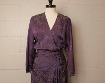 Vintage 1980's 1930's Style Purple Blue Brocade Dress M