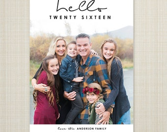 Photo New Year's Card, printable new years card, new years photo card, digital holiday card, digital new years card  - hello 2016.