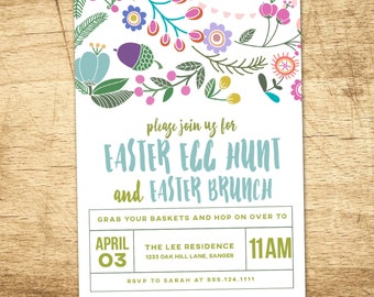 Easter Egg Hunt Invitation, Vintage Easter Brunch, Egg Hunt Floral PRINTABLE Party Invitation, Spring Invitation, Easter Brunch Invitation