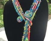 Upcycled scrap fabric multi strand necklace