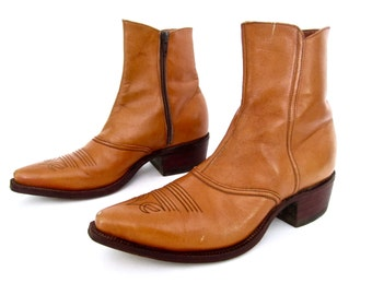 GORGEOUS vintage 1960s dan POST golden caramel brown leather WESTERN ankle boots zip up beatle womens 9 9 1/2 spain bohemian desert style