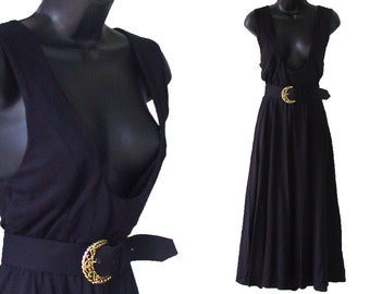 80s Black Jumper Knit Dress with Belt M