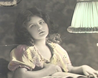 1900s French postcard, Reading Girl, RPPC paper ephemera.