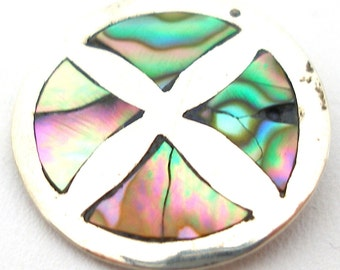 Sterling BUTTON, Silver & abalone shell, 20mm. Taxco 925.