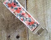 Wristlet Key Fob - Rosa in Peach Keychain - Rifle Paper Co Key Chain - Key Ring - Accessory