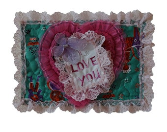 Quilted Valentine Card One of A Kind Appliqued Hearts Embellished and Embroidered Free USA Shipping