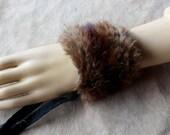 Fur bracelet - Real brown beaver fur bracelet or anklet with leather straps  for neotribal costume and festival wear