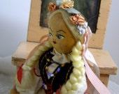 Vintage Wooden Folk Art Polish Doll-Braided Hair