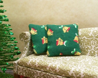 Christmas Bells Pillows Cushions Gold Green 1:12 Dollhouse Miniatures Artisan