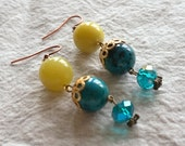 Yellow green jade and chrysocolla gemstone earrings with aquamarine Czech glass and gold filigree