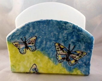 napkin holder,hand painted fused glass