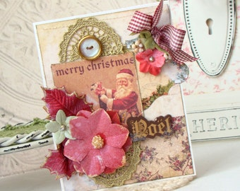 Merry Christmas Shabby Chic Handmade Card