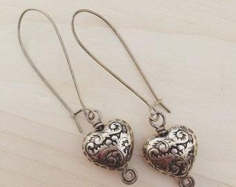 HEART OF GOLD antiqued brass vintafe heart bead wirework spiral dangle earrings