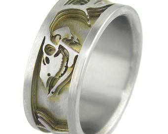 Deer Skulls Titanium 3D Contour Ring