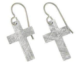 Meteorite Rugged Cross Earrings