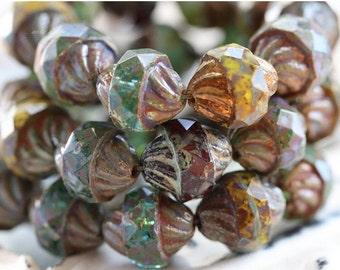 10% off TWISTED MIX .. 10 Picasso Czech Glass Turbine Beads 10x12mm (5118-10)
