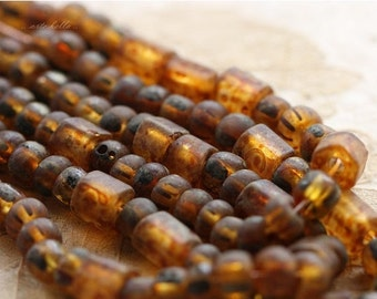 10% off EARTHY AMBER MEDLEY No. 3 .. Premium Picasso Czech Furnace Glass Seed Bead Mix (4618-st)