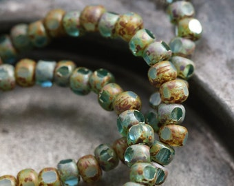 BEACHY AQUA SEEDS .. New 50 Picasso Czech Glass Tri-Cut Seed Bead Size 6/0 (5432-st)