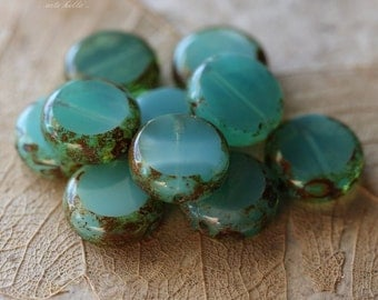sale .. SLICED LAGOON .. 10 Picasso Czech Glass Coin Beads 10mm (4852-10)