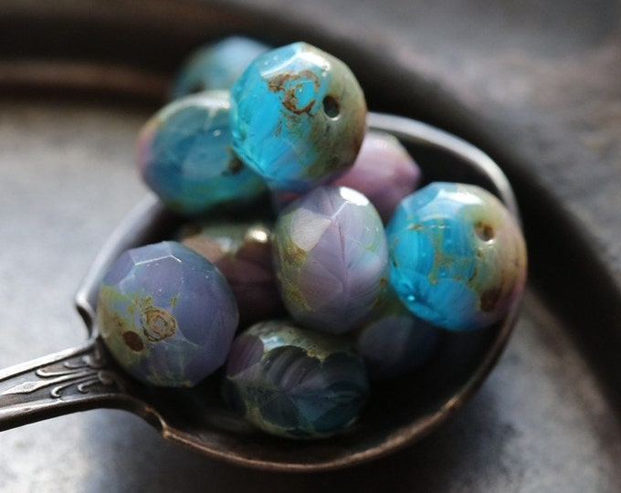 LOBELIA .. 10 Premium Czech Picasso Rondelle Glass Beads 6x8-9mm (4844-10)
