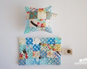 Patchwork pennii Needlebook and Pinnii cushion set: Bluebell