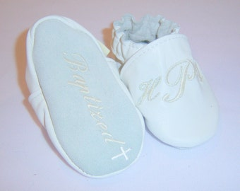 leather Baptism shoes-Monogrammed Baby Shoes - monogrammed shoes -3 letter monogram shoes - custom made leather monogrammed shoes