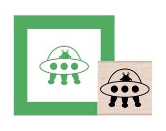 Alien Spaceship Rubber Stamp