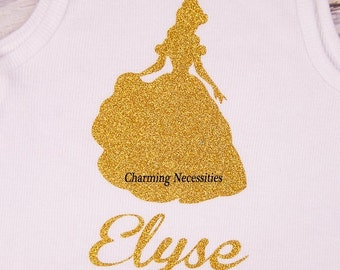 SALE Personalized Glitter Tshirt Bodysuit Top Inspired by Princess Belle by Charming Necessities, Toddler Girl Boutique Clothing Sparkle Shi