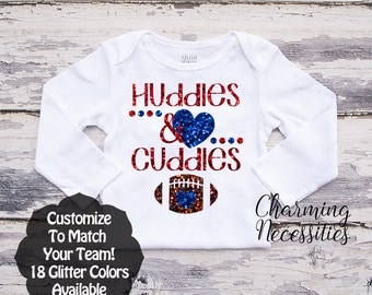 Football Sister Shirt, Fan, Toddler Girl Clothes, Baby Girl Outfits, Huddles and Cuddles Custom Personalized Glitter Long Sleeve Shirt
