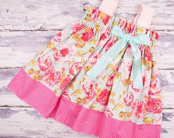 NEW Girls Spring Summer Dress, Ruffled Sun Dress in Rose Cottage by Charming Necessities Toddler Trendy Vintage Inspired Shabby Chic