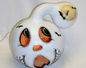 Ghost Light-Up Gourd - Hand Painted