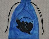 Raven crow tarot dice bag