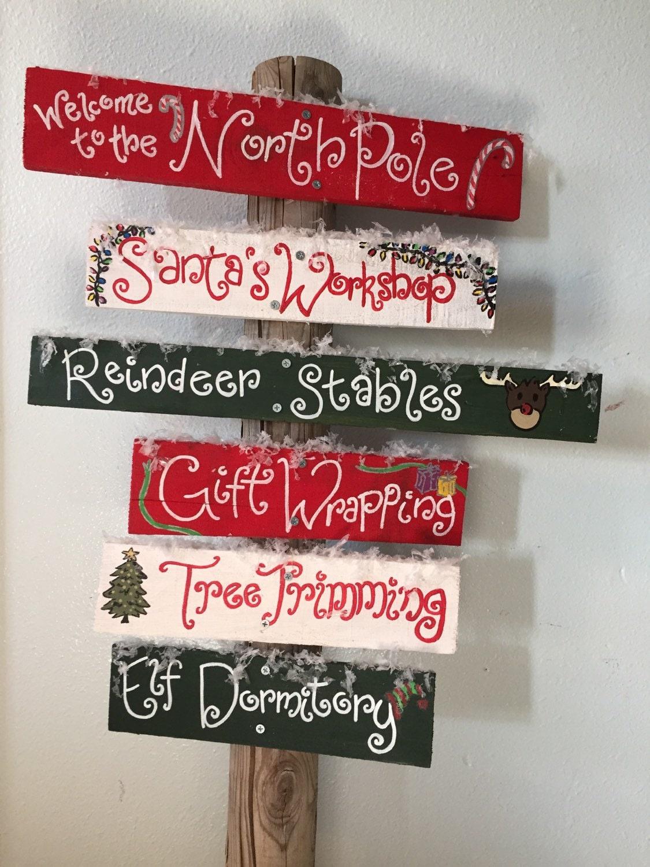 Christmas decor north pole outdoor christmas sign for Outdoor christmas signs