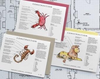 Project Zodiac Set (12) - Blank Architecture Construction Cards