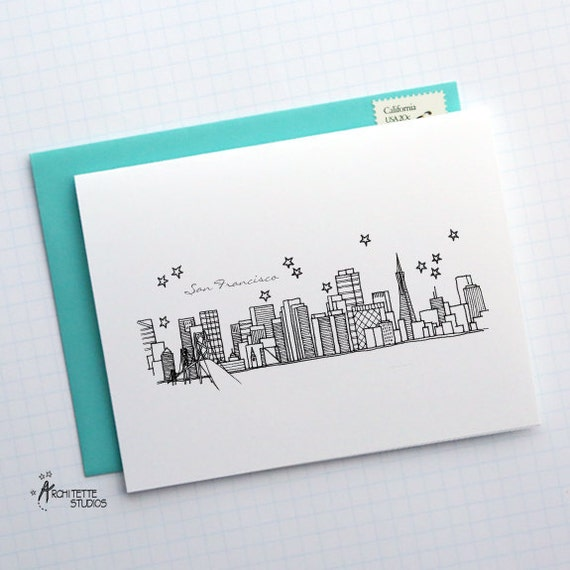 San Francisco, California - United States - City Skyline Series - Folded Cards (6)
