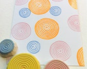 abstract circle stamp set, hand carved rubber stamps