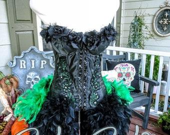 The Victoria Velvet Maleficent Halloween Burlesque Corset Costume S/M