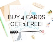 Buy 4 Get 1 Free Recycled Greeting Cards Set Love Funny Birthday Cards