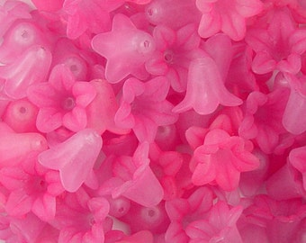 CLEARANCE Acrylic Bead 6 Bell Daisy Flower 5-Petal Pink Light Pink Frosted 18mm x 12mm Two-Tone (1017luc18m9-2)os