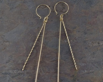 Gold Filled Earrings | Long Earrings | Dangle Earrings | Minimalist Earrings | Straight Earrings