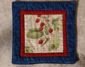 Summer Berries Mug Rug Coaster or Mini Quilt #3 Red Raspberry