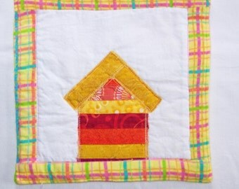 Crazy Town Bright Scrappy Cottagel Mini Quilt  Mug Rug or Coaster #4