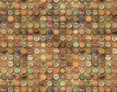 Tim Holtz Fabric by the Yard - Eclectic Elements - Top Shop Bottle Tops in Multicolor - Quilter's Cotton