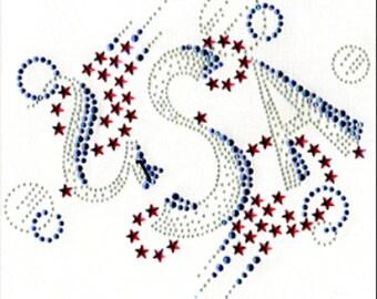 New Patriotic USA Rhinestone Fireworks 4th of July Women's Tee Shirt Sizes Small thru 3XL Plus Sizes Too FREE SHIPPING New Americana